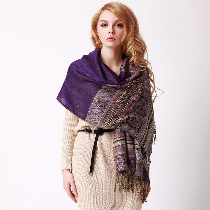 ladies shawls and scarves pashmina autumn winter india jacquard fringed design wrap cape font b tartan