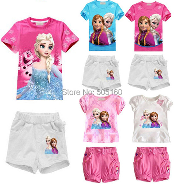 Baby Girls children clothing set elsa anna kids tracksuit anime T Shirt Tops + Pants toddler conjuntos para meninas ropa nina(China (Mainland))
