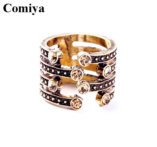 Punk style cool bridal sets women's rings shiny rhinestone personality bague gold plated zinc alloy charming ring fashion - Comiya Official Store store
