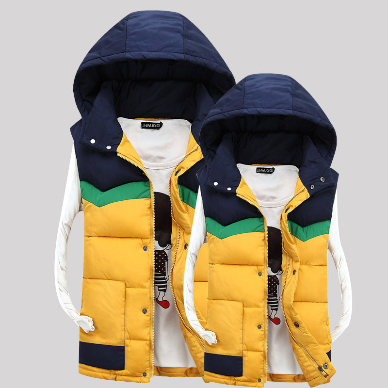 2015 Fashion Brand Mens Winter Vest Down Vests Men Sleeveless Jacket Male Waistcoat Hooded Outerwear Slim colete Y22(China (Mainland))