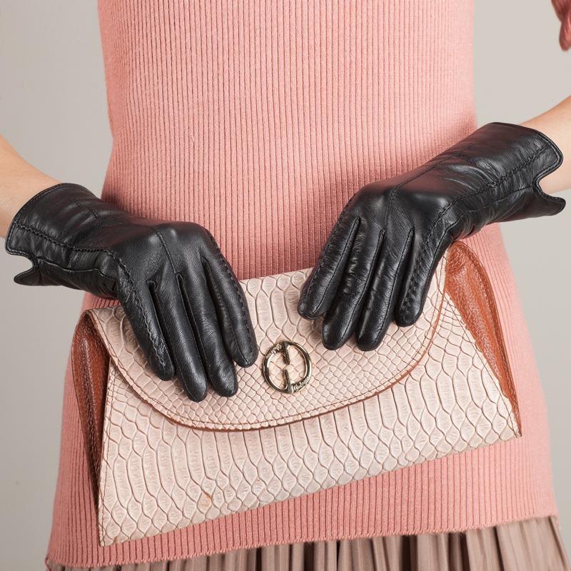 Women Genuine Leather Gloves Simple Elegant Female Sheepskin Leather Gloves Wrist Winter Leather Gloves For Women Ku-025Одежда и ак�е��уары<br><br><br>Aliexpress