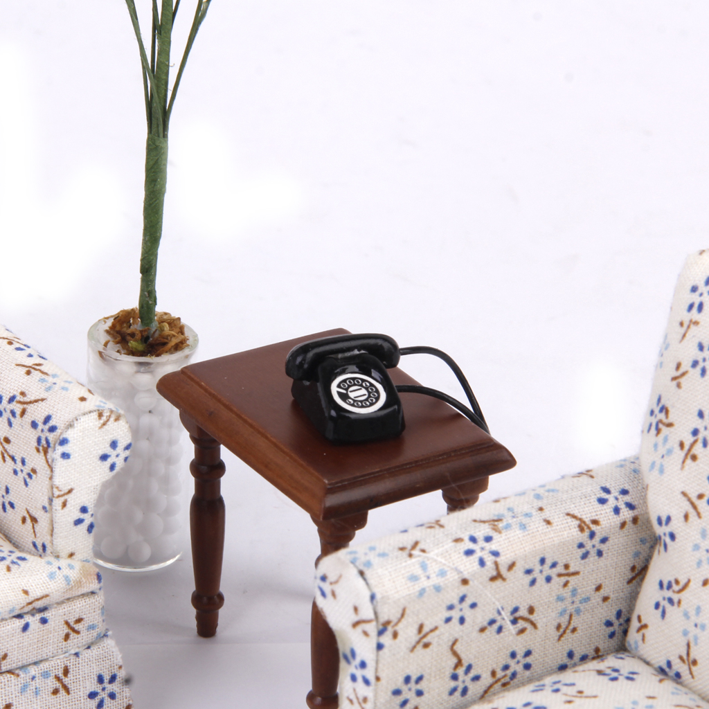 1/12 Dollhouse Miniature Metal Phone Telephone Black Classic Toys Pretend Play Doll House Furniture Toys Decoration Gift for Kid(China (Mainland))