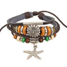 Punk Style Vintage Beads and Starfish Charms Friendship Leather Bracelet Adjustable Beautiful Gift(China (Mainland))