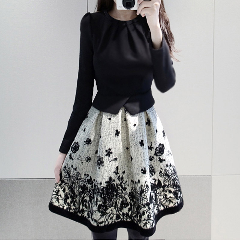 Women autumn dress new arrival cheap clothes China long sleeve short dress party evening elegant faux two pieces dresses (China (Mainland))