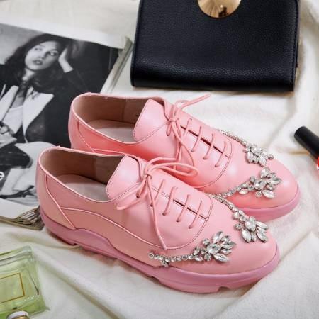Luxury Rhinestone Oxford Shoes Woman flats Pink, black 2017 Fashion crystal lace-up British style Brogue Oxford shoes women flat