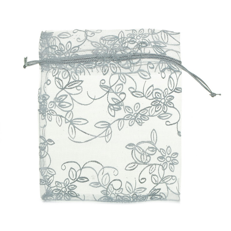 25PCs 10cmx12cm White Leaf&Flower Organza Gift Pouch Jewelry Bags Wedding X-mas Favor Fine Gifts Storage Package Organizer(China (Mainland))