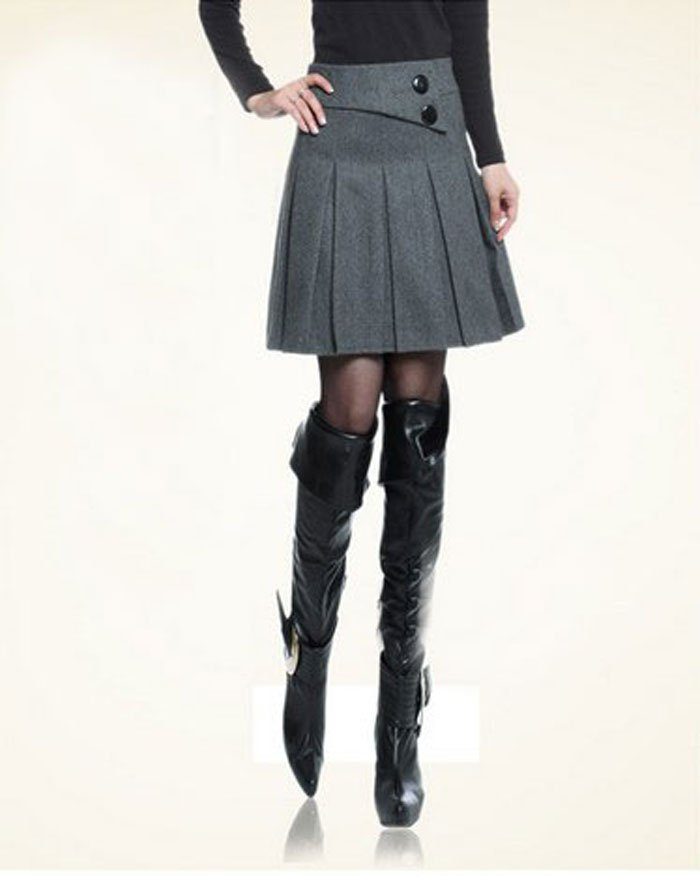 clothing two button ornament woolen pleated skirt