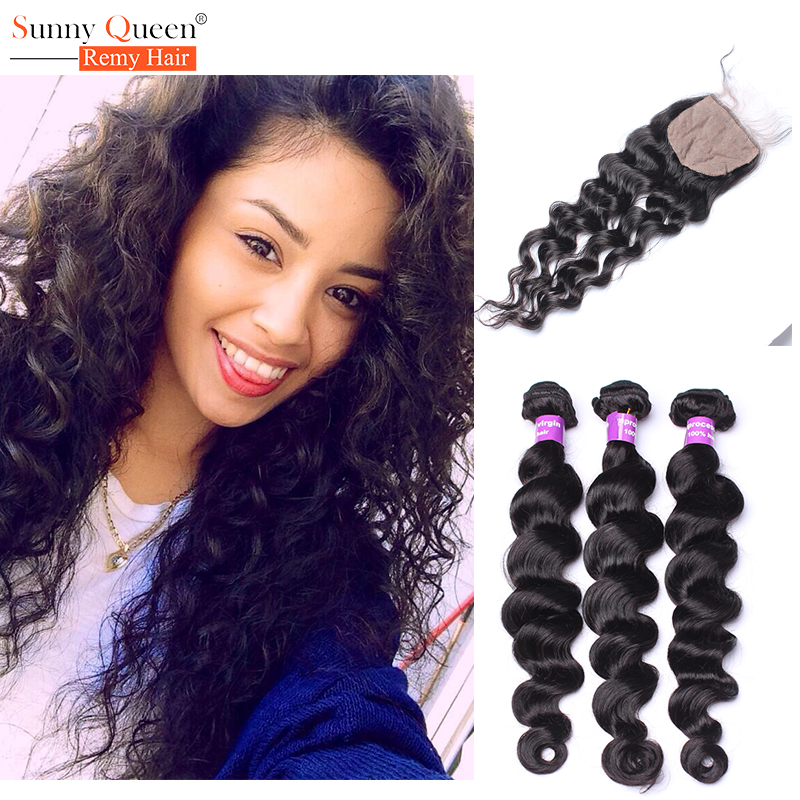 6A Malaysian Silk Base Closure with Bundles Human Virgin Hair with Closure Malaysian Loose Wave Hair Weave Bundles with Closure