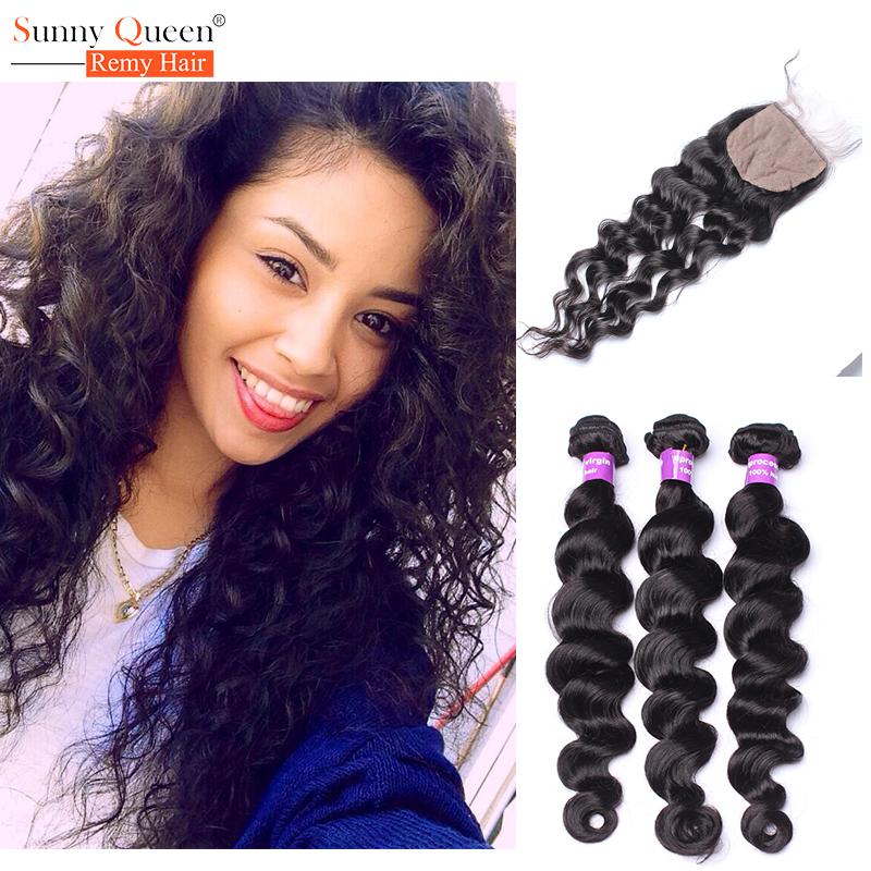 6A Malaysian Silk Base Closure with Bundles Human Virgin Hair with Closure Malaysian Loose Wave Hair Weave Bundles with Closure