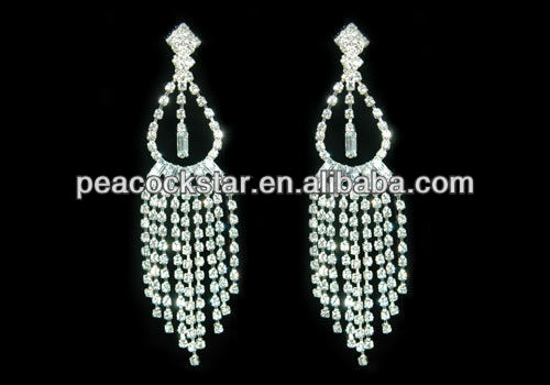 """4"""" Drag Queen Rhinestone Dangle Clip On Bridal Pageant Earrings Prom Accessories CE1031(Hong Kong)"""