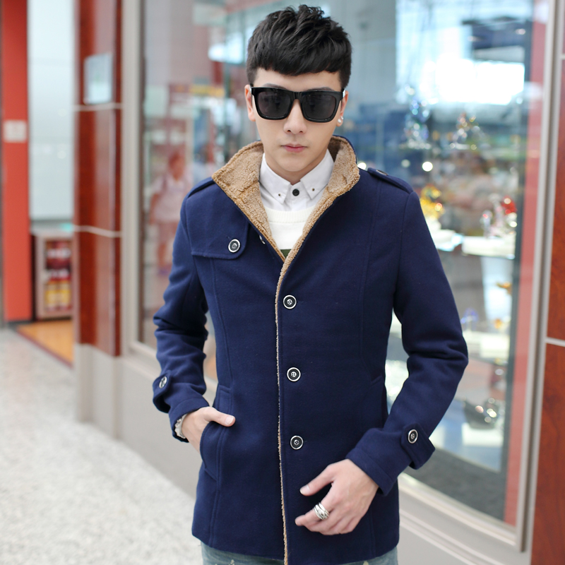 2015 Fashion Brand Size M-3XL Mens Long Winter Jacket Single Breasted Stand Slim Fit Mens woolen Coat High Quality long pea coat(China (Mainland))