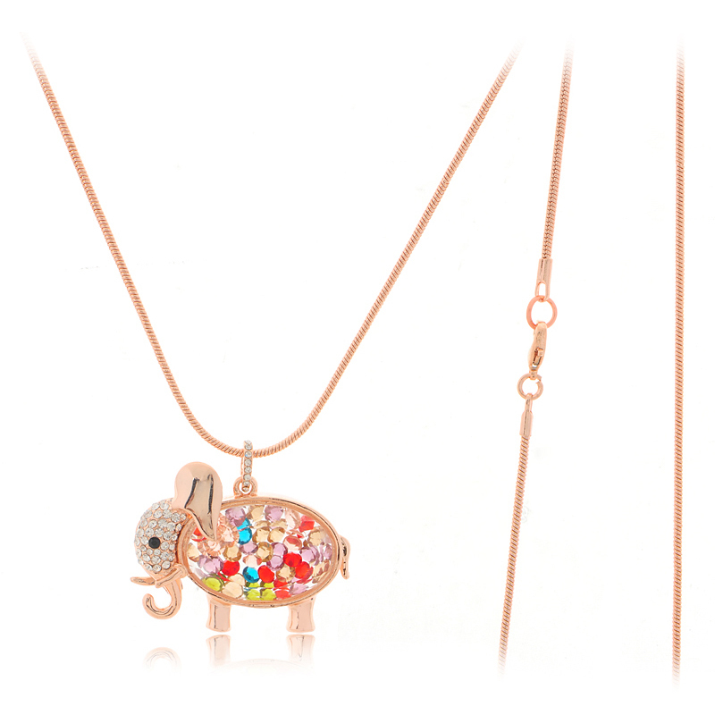 Hot Sale Brand Style Korean Fashion Jewelry For Women 2014 New Colorful Crystal Lucky Lovely Elephant Necklace Animal Jewelry(China (Mainland))