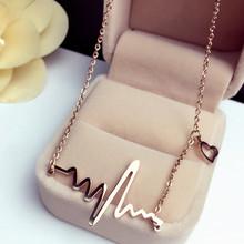 2016 Women Modern Romantic Love Simulated Electrocardiogram ECG Heart beat Gold Silver Bib Chain Necklace Collares lady Choker(China (Mainland))