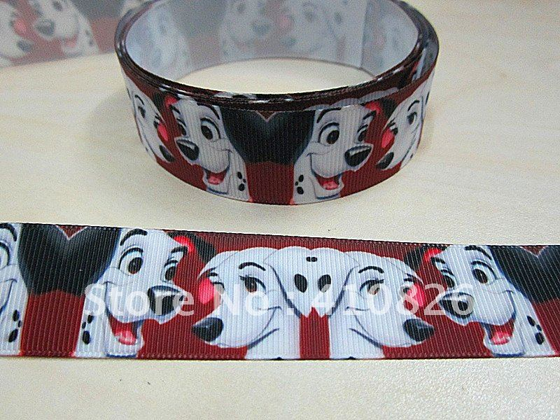 "WM ribbon wholesale 1""25mm white dog printed grosgrain ribbon hairbow 50yds roll free shipping(China (Mainland))"