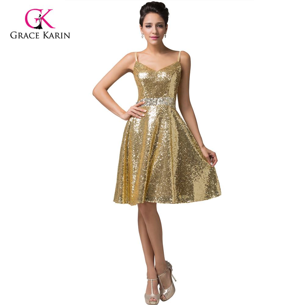 Short metallic prom dresses