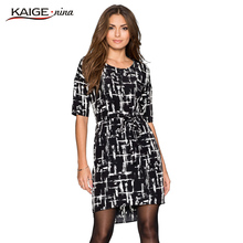 Buy 2016 Kaige.Nina dress Women o-neck half sleeves dress plus size women clothing chic elegant sexy fashion dresses 9027 for $14.50 in AliExpress store