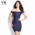 YuooMuoo Sexy Club Dress Women 2016 Blue Wrap Party Dress Summer Sheath Women Mini Bandage Bodycon