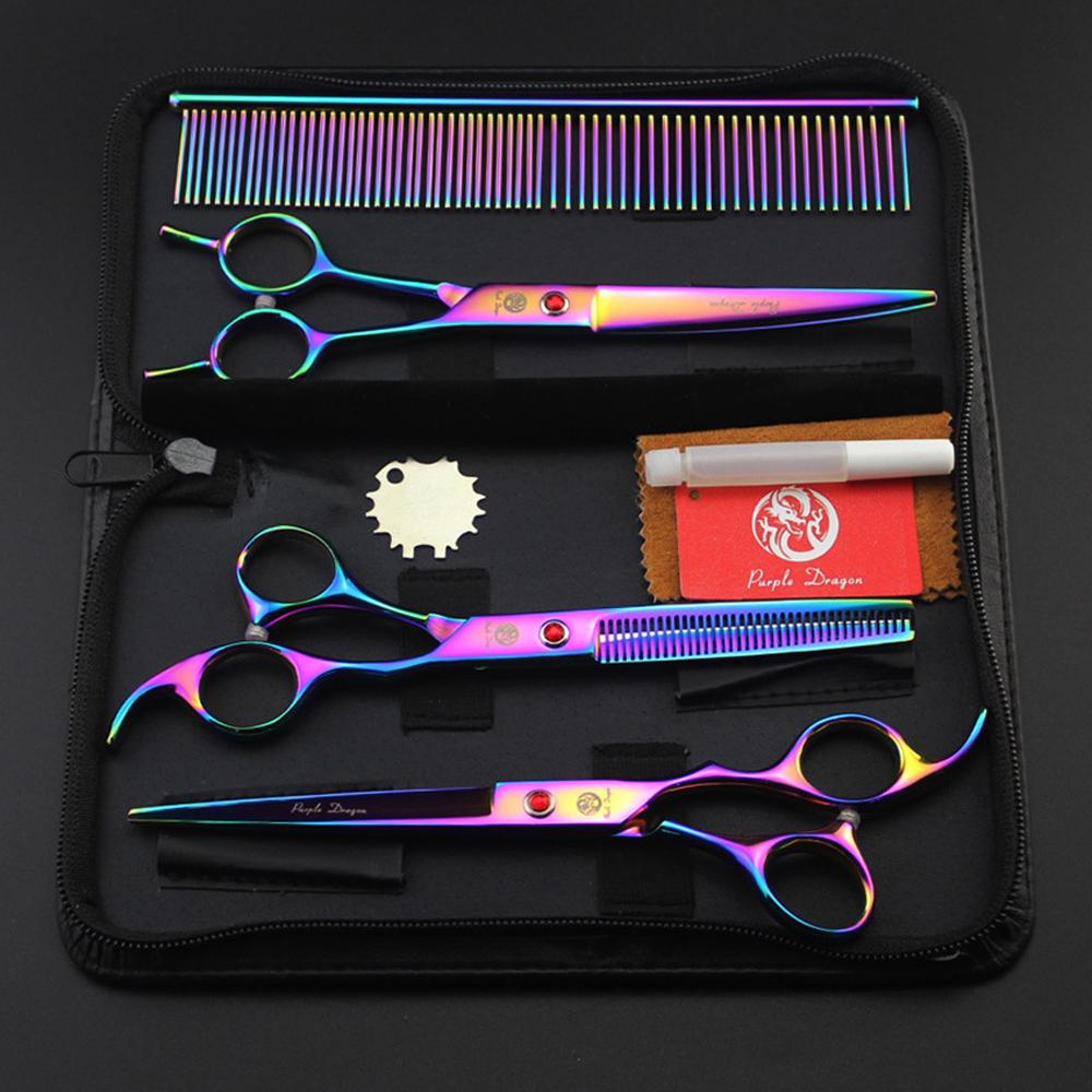 7.0 inch Pet Scissors Dog Grooming Scissors Set Straight & Curved & Thinning Shears Sharp Edge Animals Hair Cutting Tools Kit(China (Mainland))