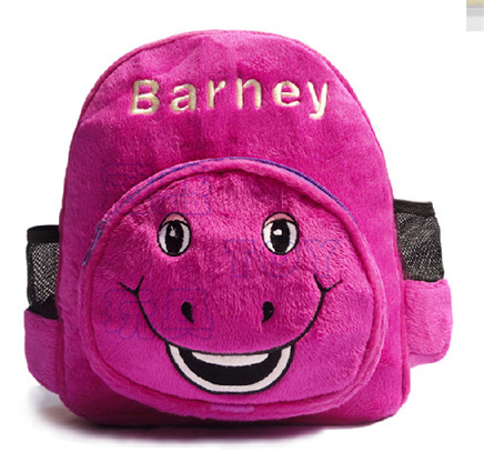Barney soft plush child school Shoulder bag cute Backpack 28CM*24*9CM cosplay Cartoon & Anime(China (Mainland))