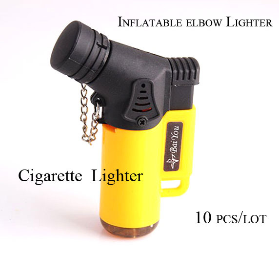 Inflatable Elbow Plastic Lighters Windproof Angle Jet Flame Refillable Torch Cigarette Lighter in Assorted Color with Flame Cap(China (Mainland))
