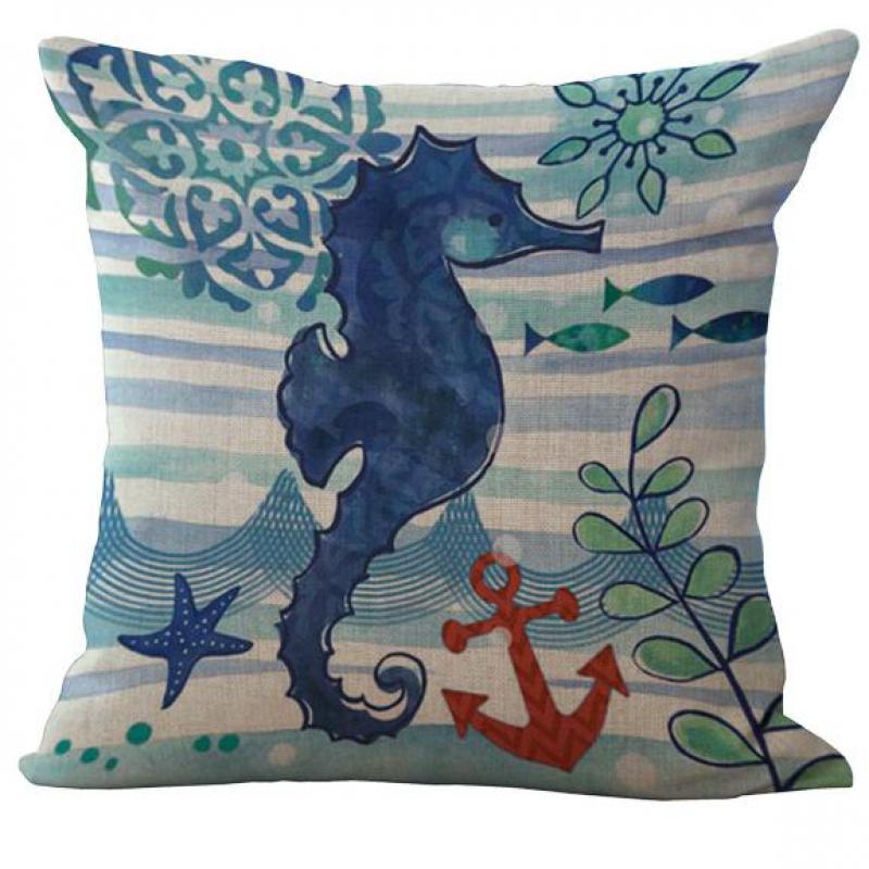 Free Shipping Wholesale Deep Seabed Organisms Cotton Linen Pillow Case Office Seat Square 45*45 Cm(China (Mainland))