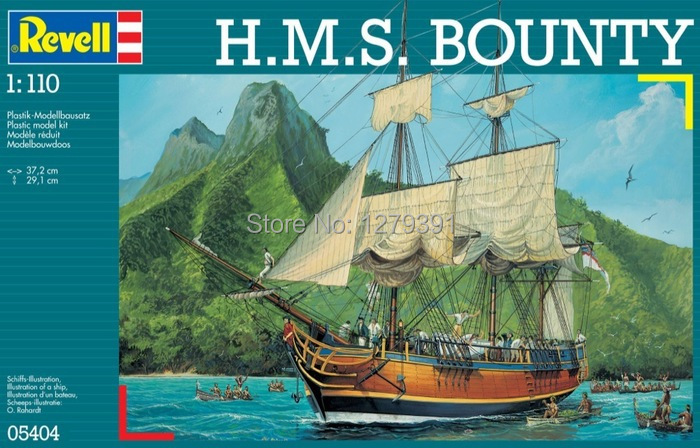 Revell plastic saill ship model kit 05404 in 1:110 scale H.M.S. Bounty, for model hobby, home decoration, gift or collection(China (Mainland))
