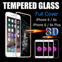 3D Curved Edge Titanium Full Cover Tempered Glass Film Screen Protector for Apple iPhone 6 6s Plus Full Coverage Protective Film