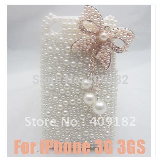 Top Gift Bling Fashion Designer Pandent Faux Pearl Bow Butterfly Hard Back Cover Case for iPhone 3G 3GS(China (Mainland))