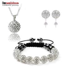 Fashion Crystal Shamballa Set Necklaces & Pendants/Bracelet/Earring Studs Jewelry Set With Disco Balls for Women SHSTImix1(China (Mainland))