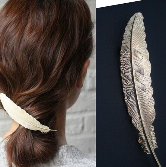 2016 new hot fashion women's vintage Hairpin gold plated metal feather big Hairgrips Hair clip accessories Jewelry Pinza de pelo(China (Mainland))