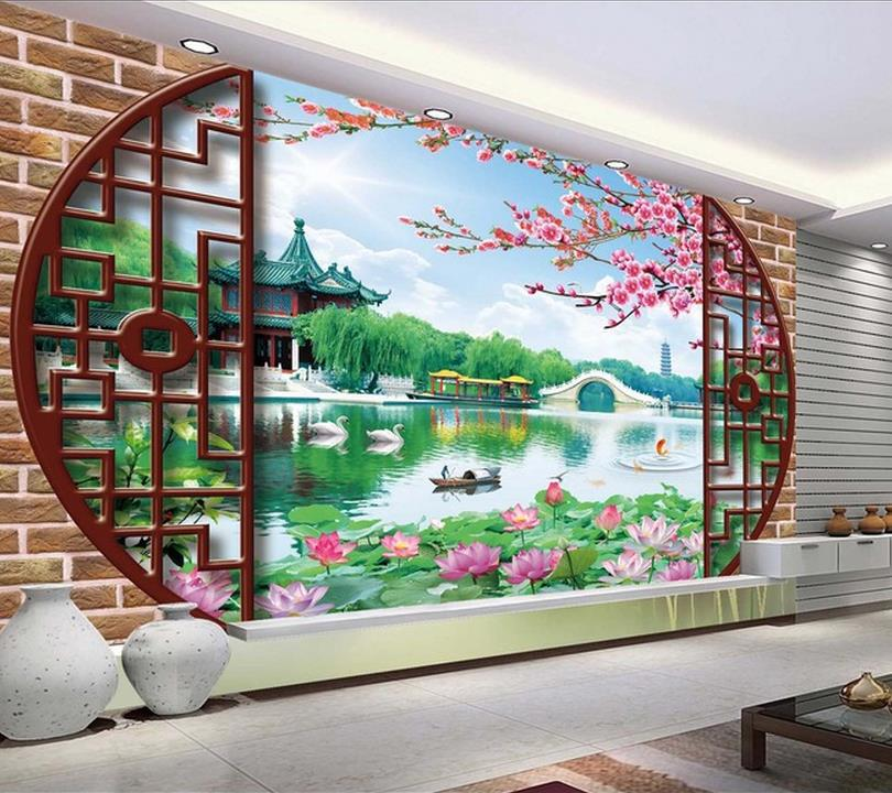 3d wall murals wallpaper photo chinese courtyard wall for Chinese wallpaper mural
