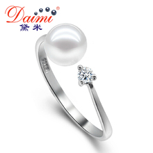 DAIMI 925 Sterling Silver Ring 100% Natural Round Pearl Rings For Women Wedding Ring LOLITA(China (Mainland))