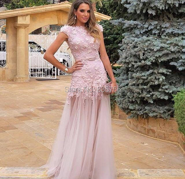2015 Hot Sale New Appliques Tulle Mermaid imported party dress Custom Made Cheap Cap Sleeve 2015 Lace Evening Gown Pink(China (Mainland))