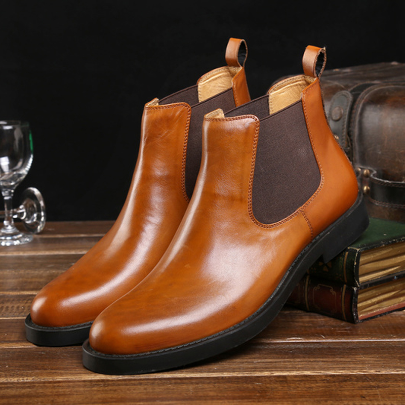 Autumn and winter fashion male socket high formal leather first layer of cowhide commercial round toe genuine leather<br>
