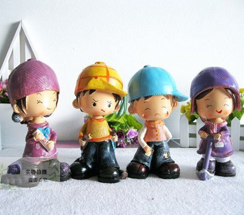 Free shipping wholesale and retail handcraft painted resin table ornament one set of happy&angry&cry&smile moppets
