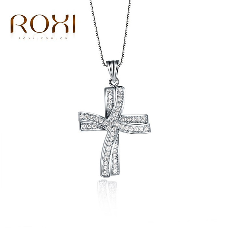 ROXI Delicate cross necklace platinum plated with AAA zircon fashion Environmental Micro Inserted Jewelry free shipping103024576