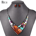 MS20101 Fashion Jewelry Sets Gunmetal Plated Bright Colors High Quality Woman s Necklace Earring Set Wedding