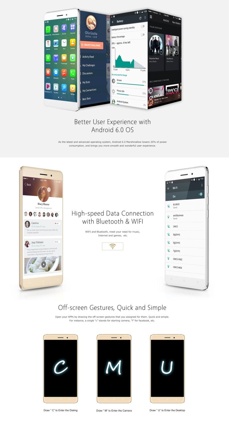 Original Bluboo Maya 5.5″HD 1280*720 3G Smartphone Android 6.0 MTK6580A Quad-Core 1.3GHz 2GB+16GB 8.0MP+13.0MP 3000mAh Cellphone