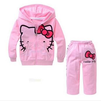 TZ-007,Free Shipping! New autumn hello kitty baby clothes sets cotton girl thin sport suit children garment Wholesale And Retail(China (Mainland))