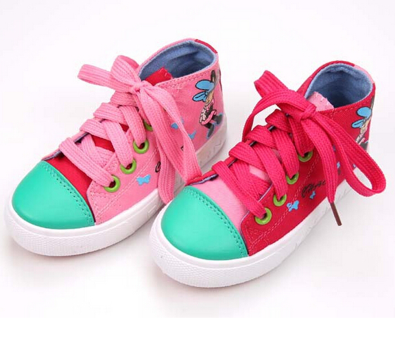 New girls princess shoes children canvas shoes kids fashion casual sneakers girl child high top canvas shoes(China (Mainland))