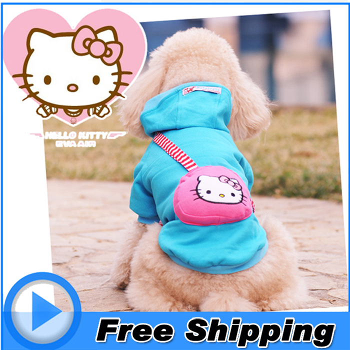 hello kitty small dog clothes hoodie coat winter warm sweater cotton jacket pet costume for puppy top clothing xxs xs s m l size(China (Mainland))