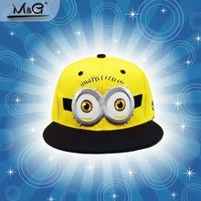 NEW minion cap fashion 2016 Cute character minions pattern baseball caps Boys and girls travel snapback hat Kids hip-hop hats