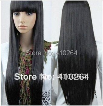 $wholesale_jewelry_wig$ NEW Imitate human bangs New Charming long black hair straight Wig 32inch