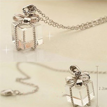 Lackingone 2015 hot sale jewelry collares Gift Box Bow Packs Long Chain Necklace Clear Pendant Silver Jewelry Gift free shipping(China (Mainland))