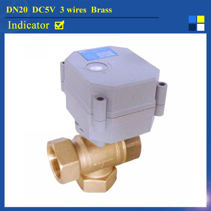 3/4'' DC5V 3 wires brass 3 way T type automatic control valve with indicator for water heating solar water heater T20-B3-C(China (Mainland))
