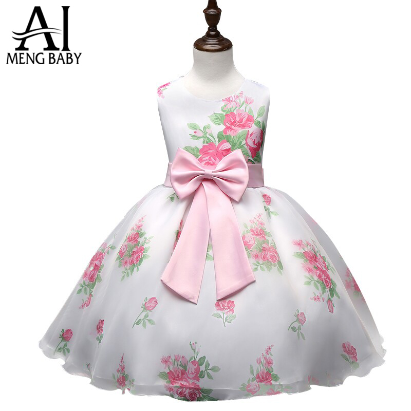 Baby Girl Dress Summer 2016 Teen Dress For Girl Printed Formal Dresses Children's Clothes Toddler Puffy Wedding Gown For Girls(China (Mainland))