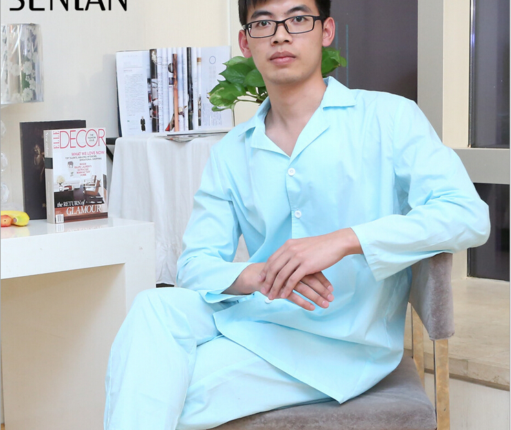 Free shipping men cotton pink  long sleeves turn-down collar  pajamas sets nightgown male calssic button sleepwear pyjamas  Одежда и ак�е��уары<br><br><br>Aliexpress