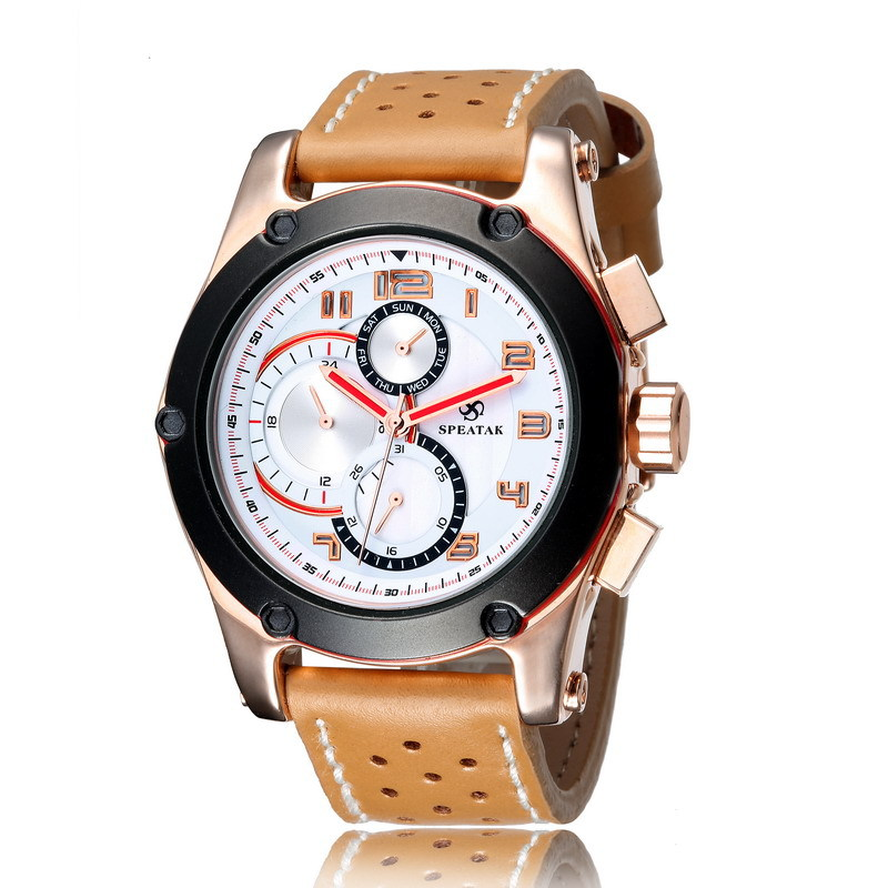 Sport Brand SPEATAK Men Casual Fashion Leather Watches Quartz Clock Popular Functional 3 Eyes 6 Hands Analog Relojes 3ATM NW7317<br><br>Aliexpress