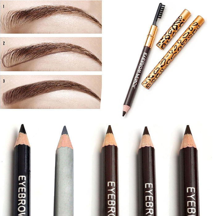 Гаджет  Hot New Women Waterproof Eyebrow Pencil With Brush Make Up Leopard maquiagem 5 Colors Shadow To Eyebrow Cheap Z1  None Красота и здоровье