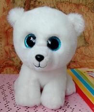 2015 new style Beanie boo TY big eyes bright eye polar bear doll 25cm plush toys boo doll for girls ABC100(China (Mainland))